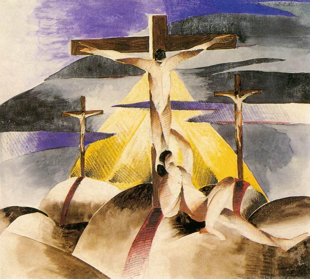 Crucifix 1925 | Gizella Domotor | oil painting