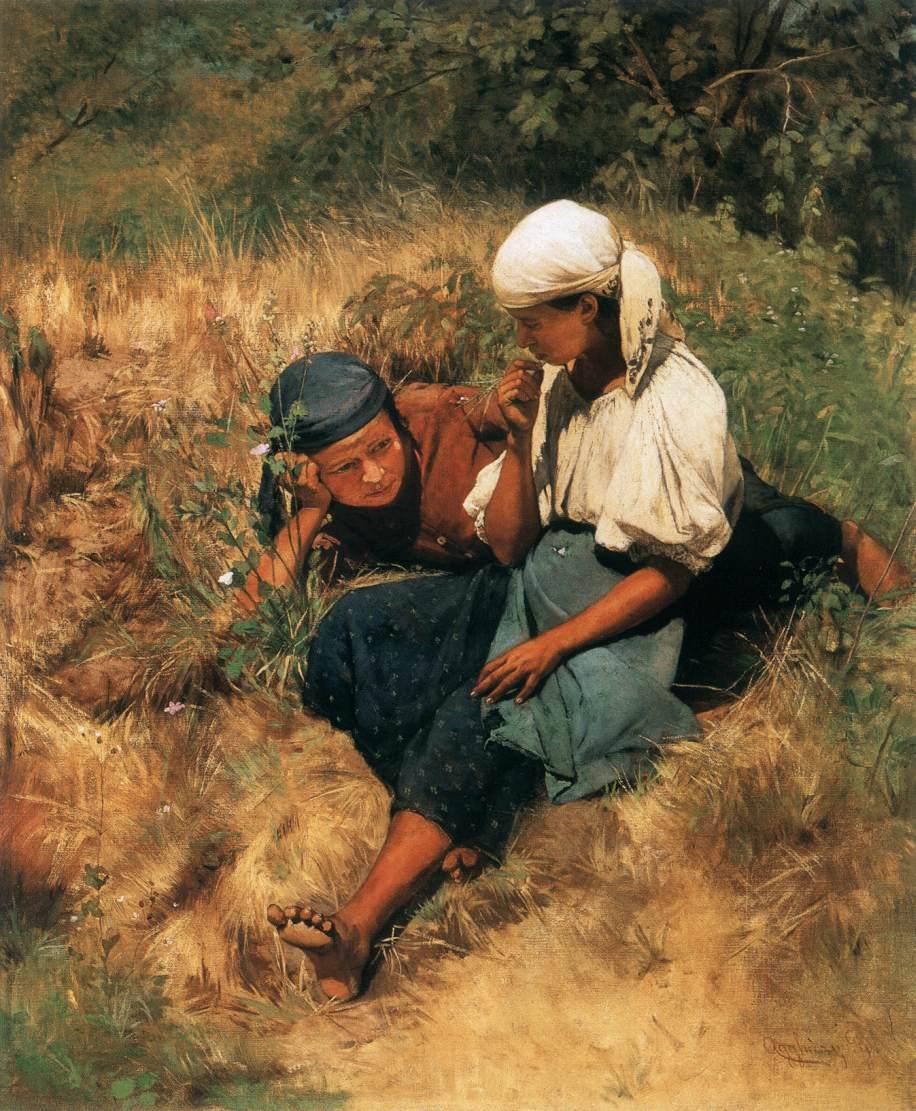 On the Sun lit Field   Gyula Agghazy   oil painting