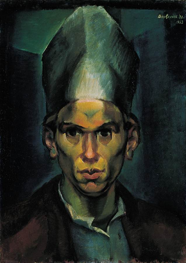 Self-Portrait with a Bishop's Hat 1923 | Gyula Derkovits | oil painting
