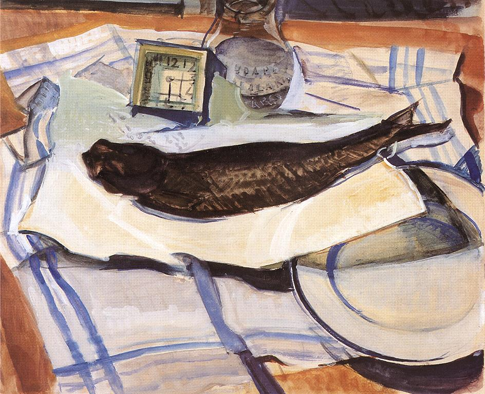 Still-life with Fish II 1929 | Gyula Derkovits | oil painting