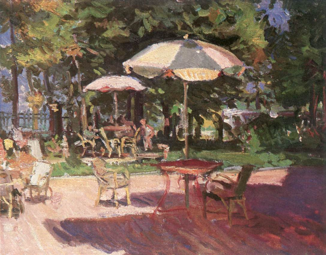 The Garden of Hotel Hullam 1956 | Istvan Boldizsa | oil painting