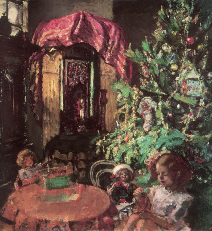 Zuzu under the Christmas Tree 1914 | Istvan Csok | oil painting