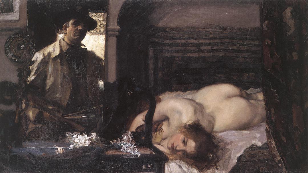 Studio Interior 1905   Istvan Csok   oil painting