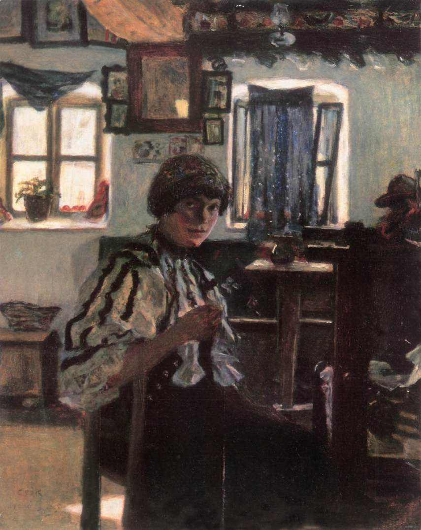 Sokatz Woman Embroidering 1905 | Istvan Csok | oil painting