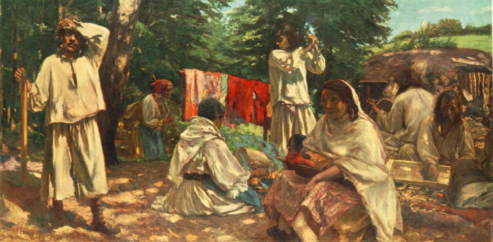Gipsies Making Trough 1903 | Istvan Csok | oil painting