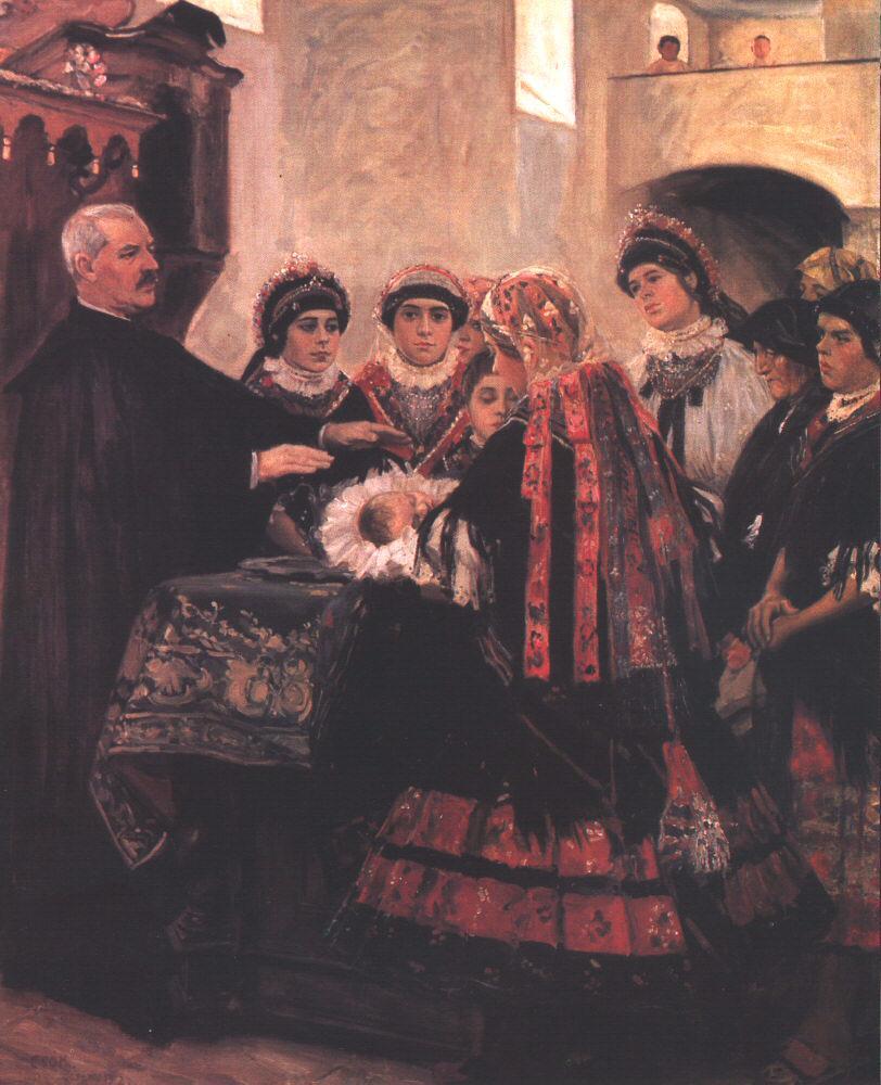 Baptism 1902 | Istvan Csok | oil painting