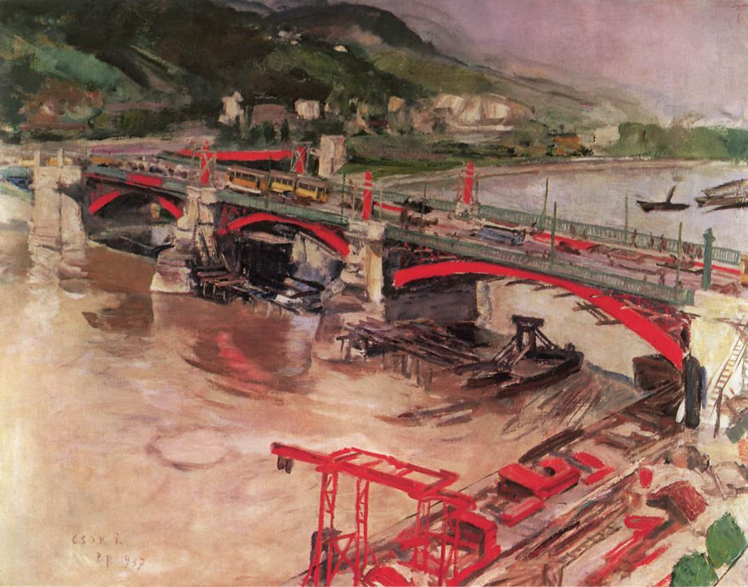 Rebuilding Margaret Bridge 1937 | Istvan Csok | oil painting