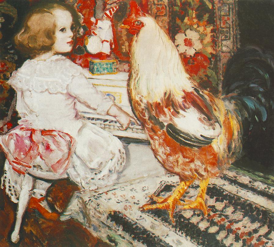 Zuzu with Cock 1912 | Istvan Csok | oil painting
