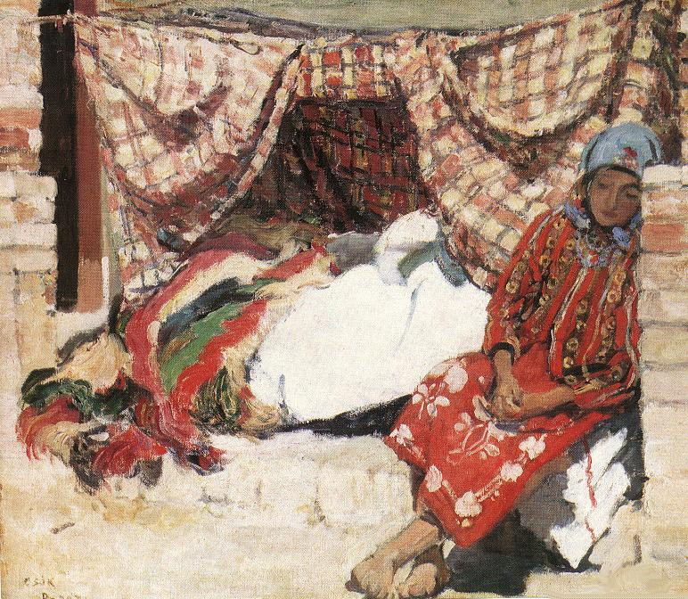 Sleeping Shokatz Woman 1907 | Istvan Csok | oil painting