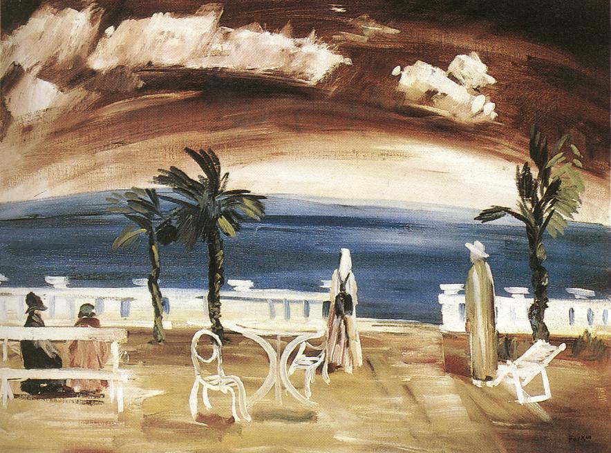 On the Beach under Purple Sky 1934 | Istvan Farkas | oil painting