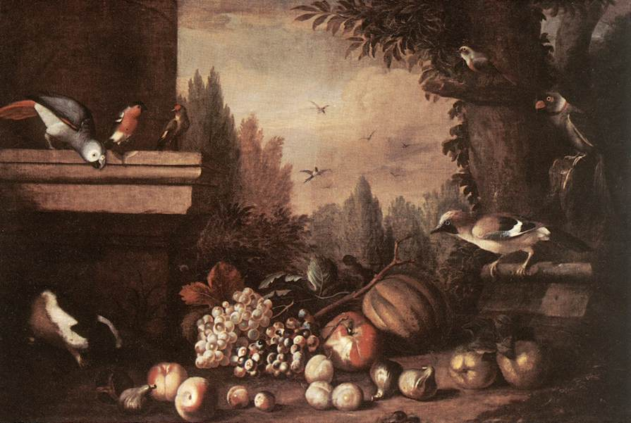 Fruit with Birds and Guinea pig | Jakab Bogdany | oil painting
