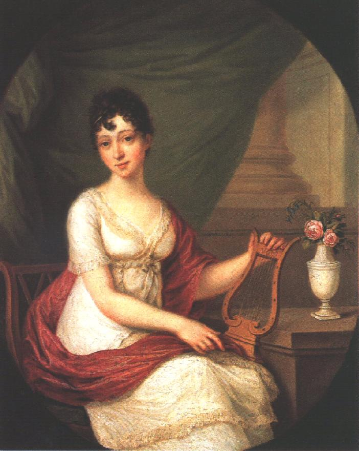 Woman Playing the Lute 1811   Janos Donat   oil painting