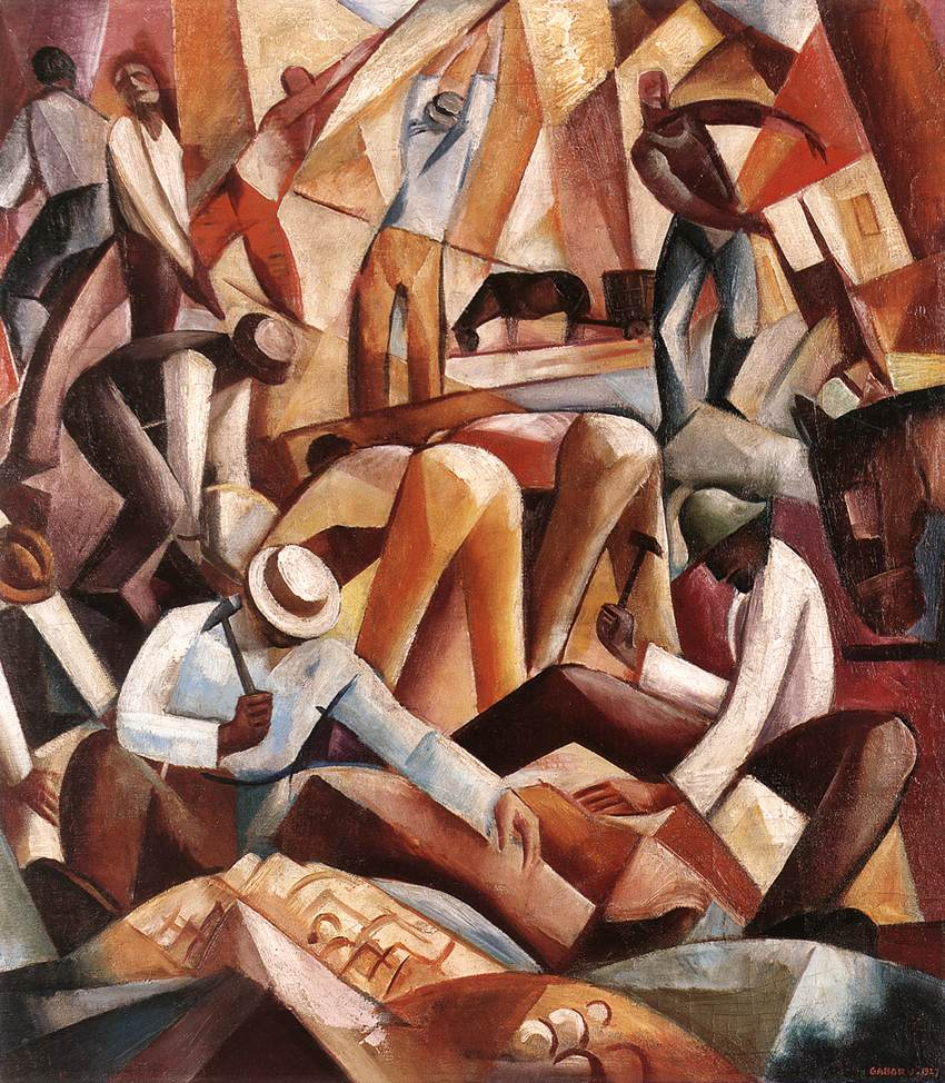 Cubist City Builders 1927 | Jeno Gabor | oil painting