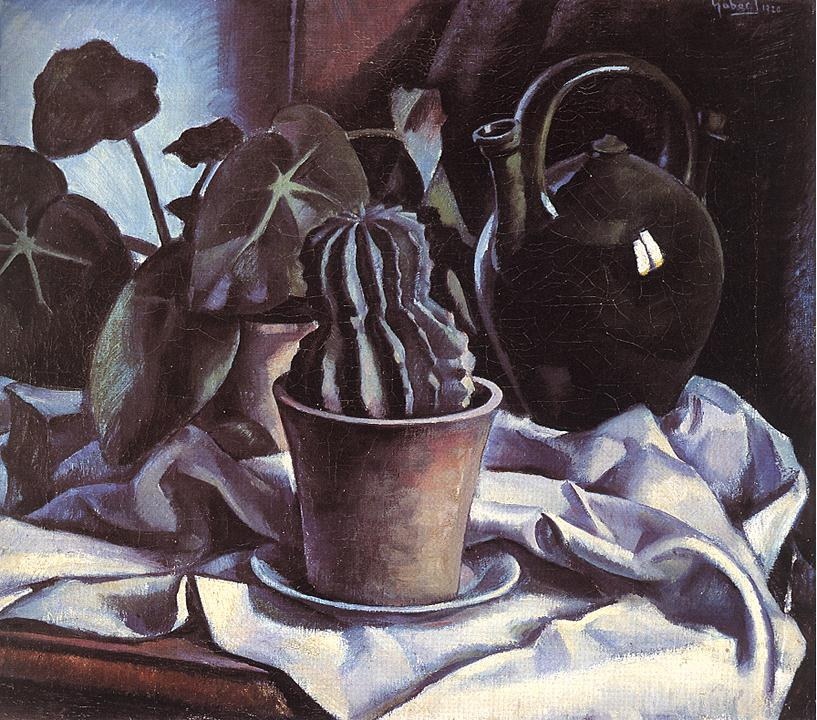 Still life with Cactus 1920 | Jeno Gabor | oil painting