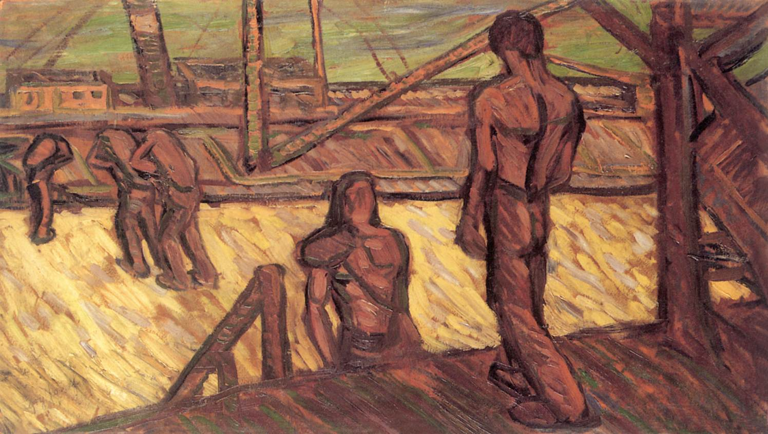 Workers in the Harbour 1912 | Jozsef Egry | oil painting