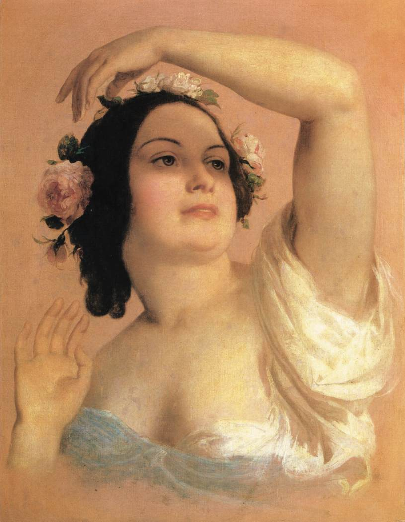 Bust of a Young Woman (Summer) 1846 50   Karoly Brocky   oil painting