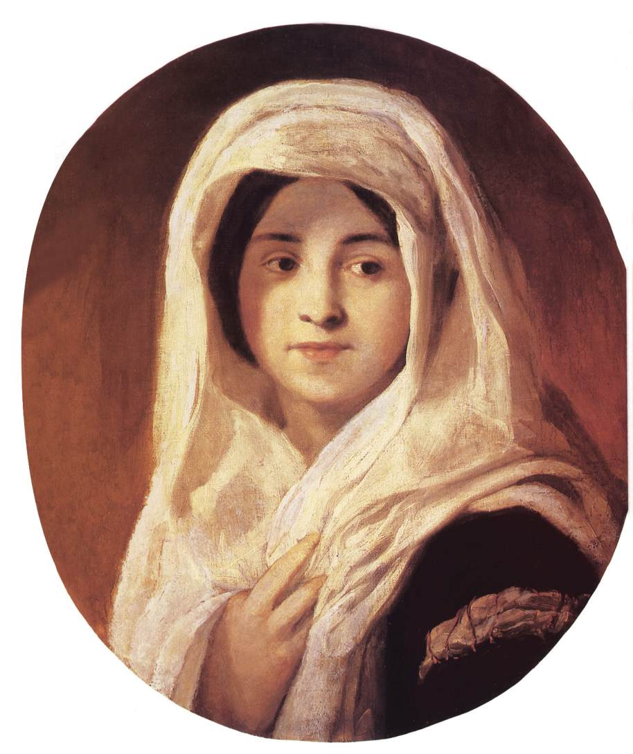 Portrait of a Woman with Veil 1846 50   Karoly Brocky   oil painting