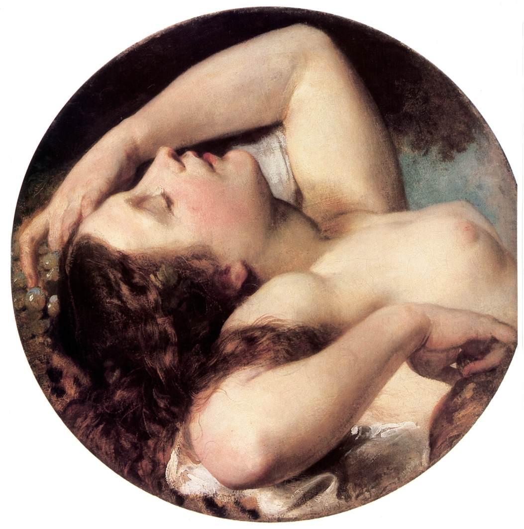 Sleeping Bacchante 1850 55   Karoly Brocky   oil painting