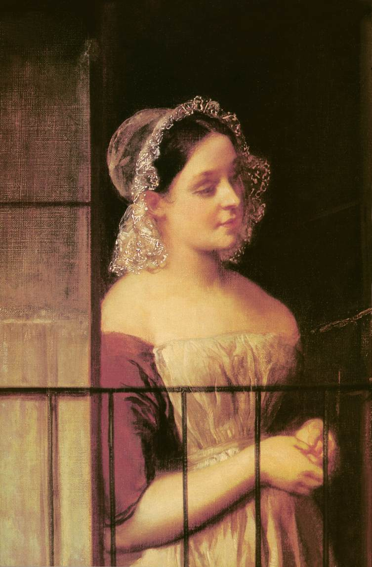 Woman Standing at a Window c 1850   Karoly Brocky   oil painting