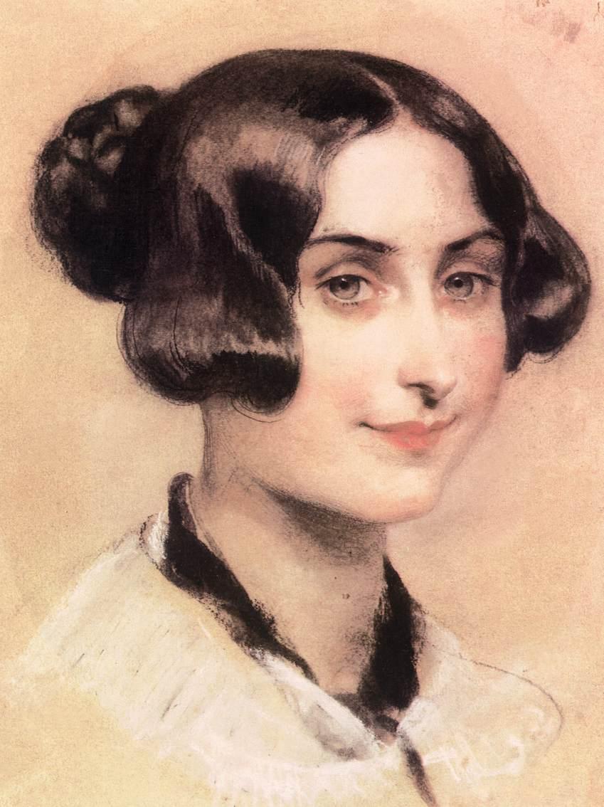 Portrait of Elisabeth Barrett Browning 1839 44   Karoly Brocky   oil painting