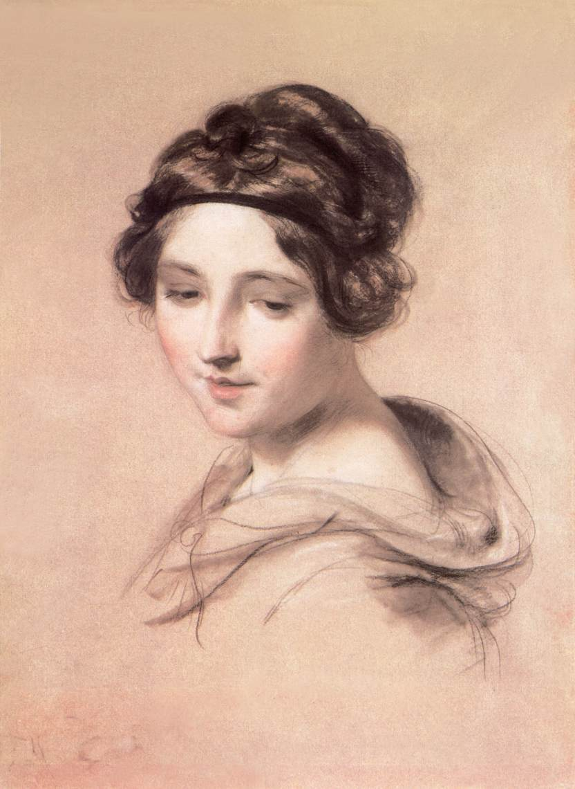 Young Woman 1840s   Karoly Brocky   oil painting