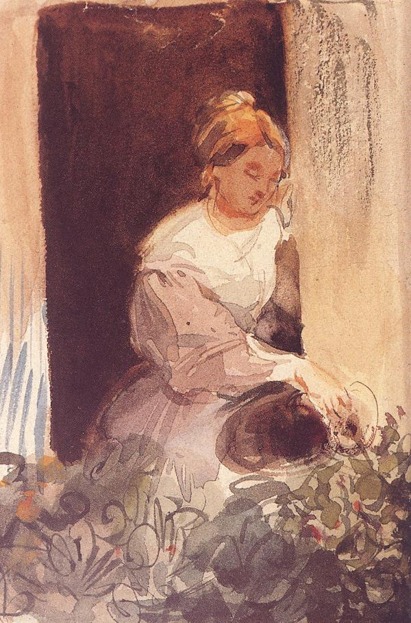 Young Woman Watering a Plant by the Window c 1847   Karoly Brocky   oil painting