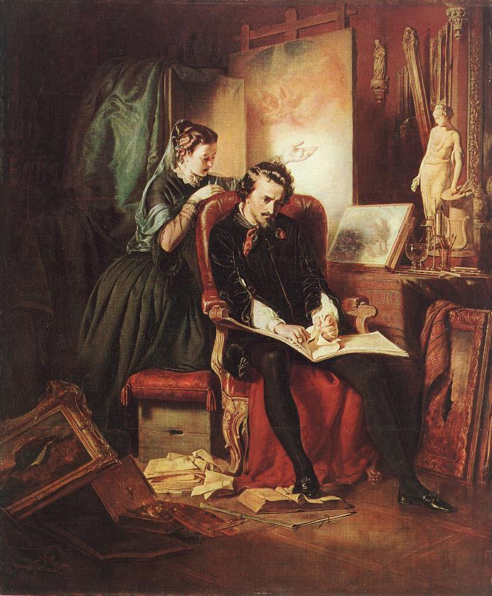 The Dissatisfied Painter (Crisis in the Life of a Painter) 1852 | Jozsef Borsos | oil painting