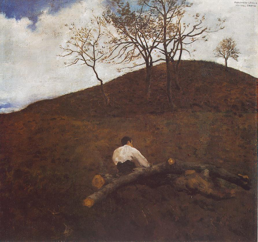 Landscape in Springtime with the Flower Hill 1898 | Karoly Ferenczy | oil painting