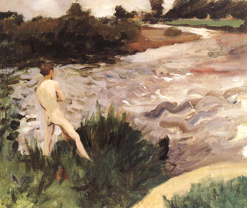 Gloomy Landscape with Bather 1913 | Karoly Ferenczy | oil painting