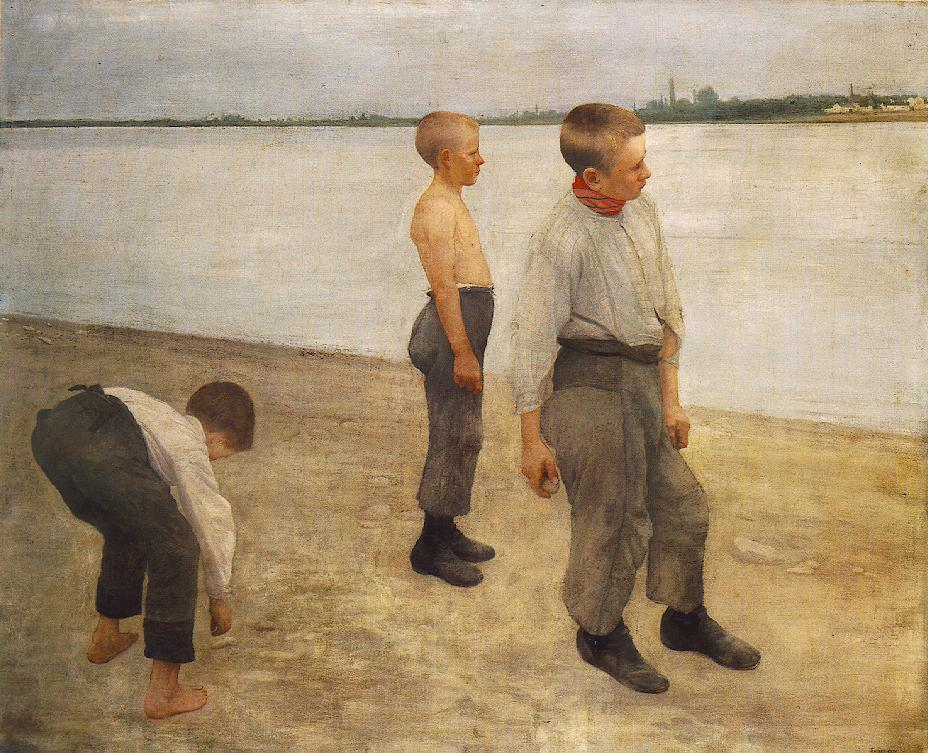 Boys Throwing Pebbles into the River 1890 | Karoly Ferenczy | oil painting