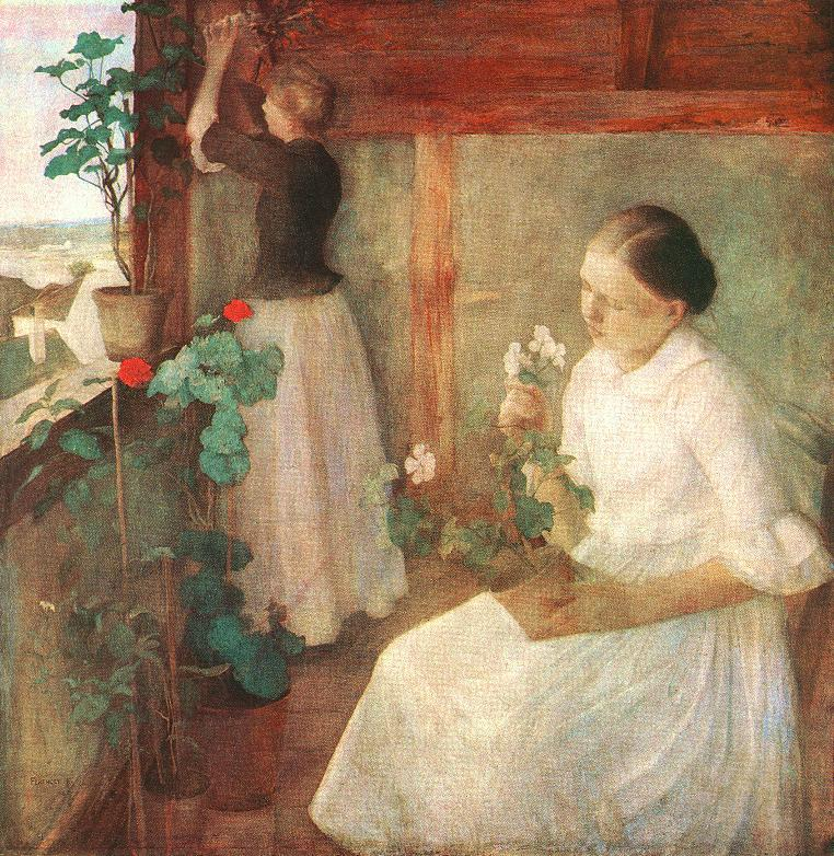 Girls Attending to Flowers 1889 | Karoly Ferenczy | oil painting