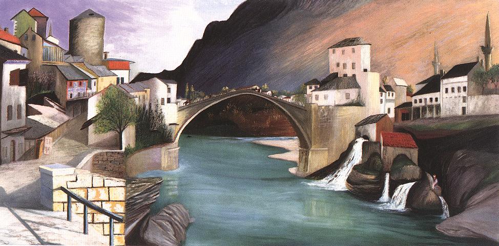 Roman Bridge at Mostar 1903 | Kosztka Tivdar Csontvary | oil painting
