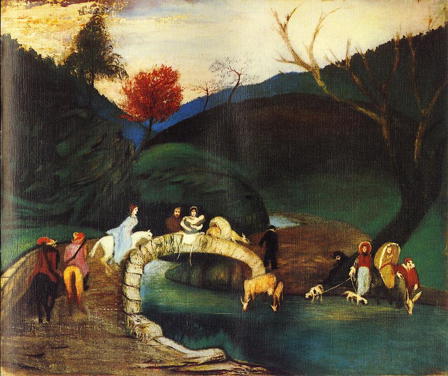 Company Passing a Bridge 1903 04 | Kosztka Tivdar Csontvary | oil painting