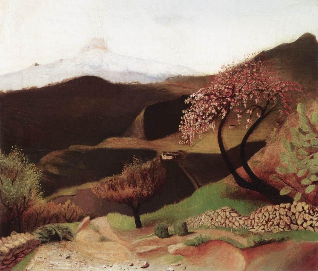 Blossoming Almonds (Landscape in Italy) 1901 02   Kosztka Tivdar Csontvary   oil painting