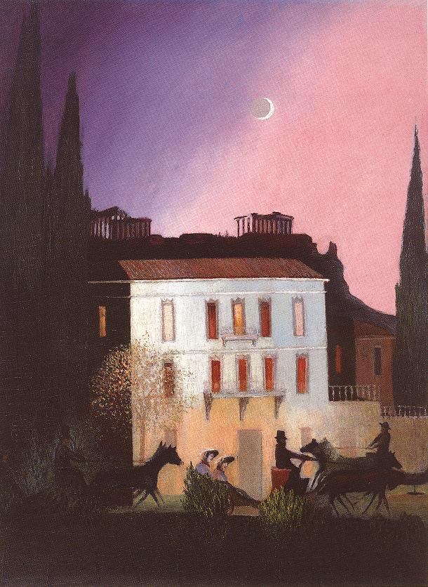 Coaching in Athens at New Moon 1904   Kosztka Tivdar Csontvary   oil painting
