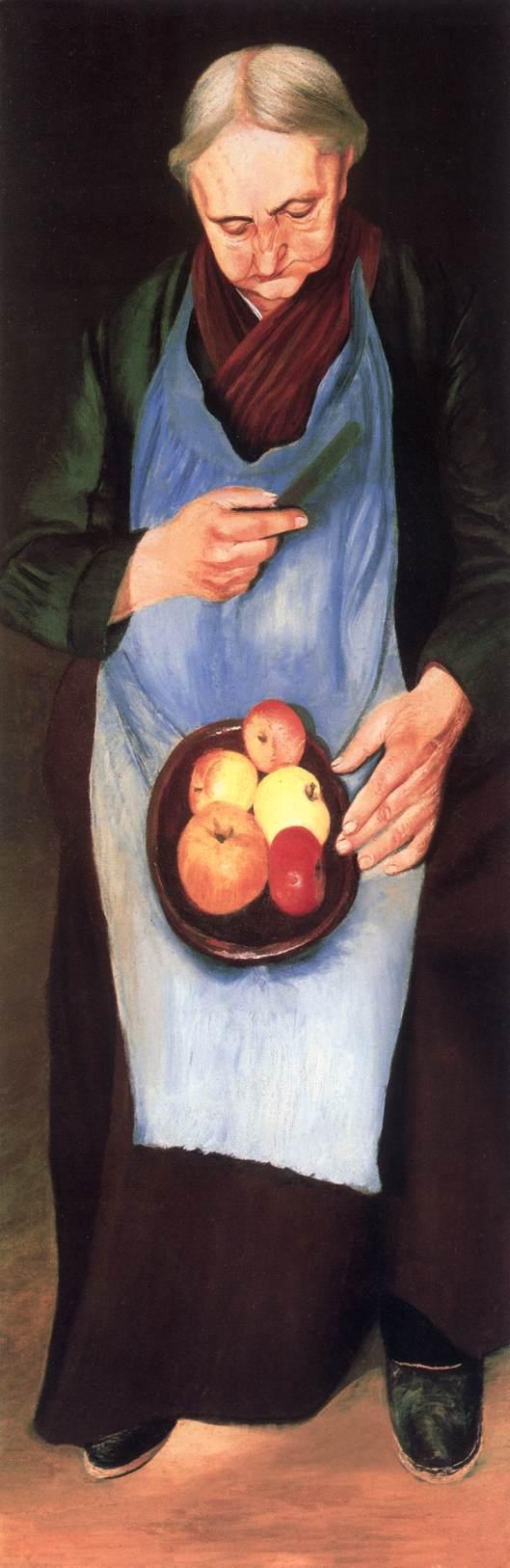 Old Woman Peeliing Apple c 1894 | Kosztka Tivdar Csontvary | oil painting