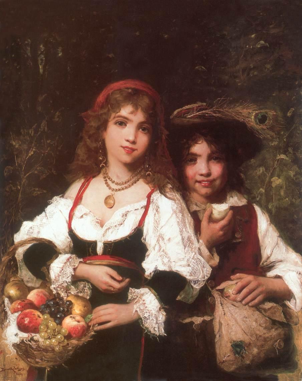 Fruit Sellers c 1880 | Lajos Bruck | oil painting