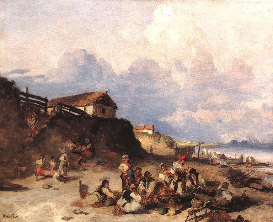 tiszapar   Pal Bohm   oil painting