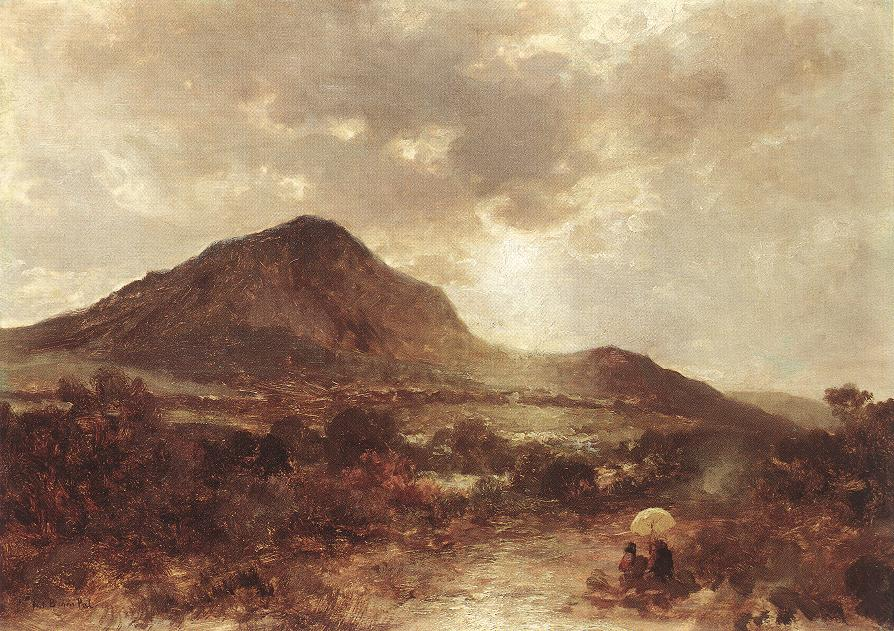 Landscape with Mountain 1870s   Pal Bohm   oil painting