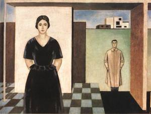 Architect Forbat and his Wife 1924 | Sandor Bortnyik | oil painting