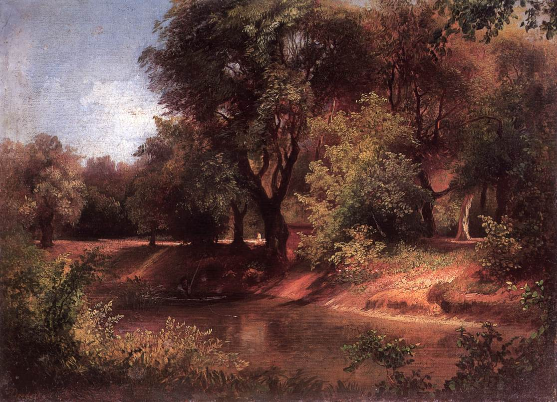 Forest Scene with River   Sandor Brodszky   oil painting