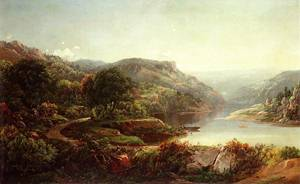 Boating on a Mountain River 1863 Painting - oil on board | Sonntag William Louis | oil painting
