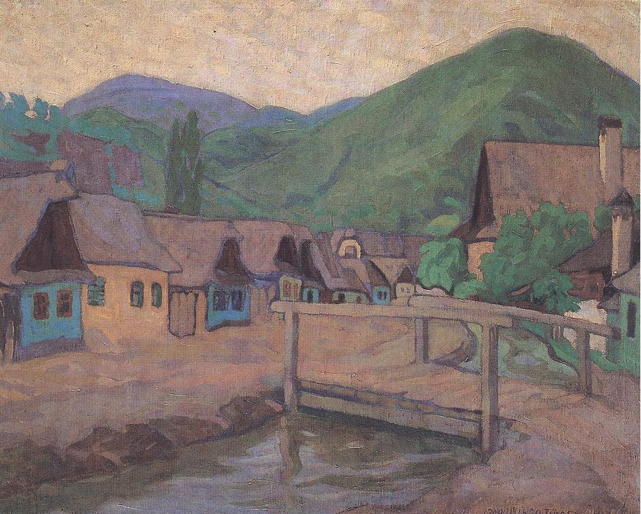 Houses along the Brook 1908 | Tibor Boromisza | oil painting