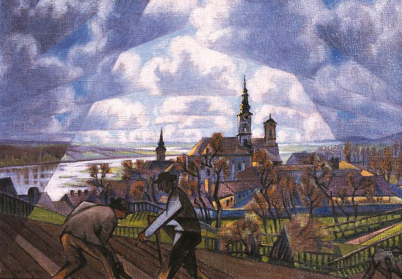 View of Szentendre with Digging Peasants 1922 | Tibor Boromisza | oil painting