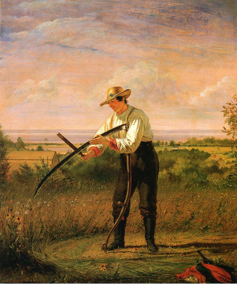 Farmer Whetting His Sythe 1848 | William Sidney Mount | oil painting