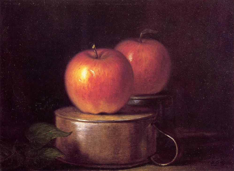 Fruit Piece Apples on Tin Cups 1863 1864 | William Sidney Mount | oil painting