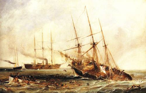 The Sinking Of The Alabama 1864   Unkonwn Artist   oil painting