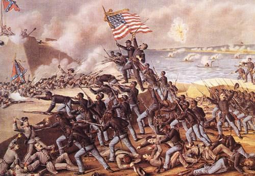 Storming Fort Wagner 1890   Louis Kurz And Alexander Allison   oil painting