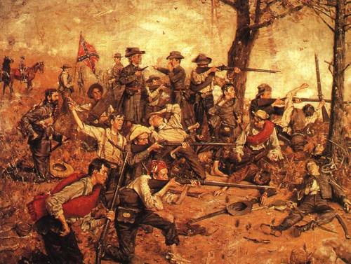 Holding The Line At All Hazards 1882   Gilbert Gaul   oil painting