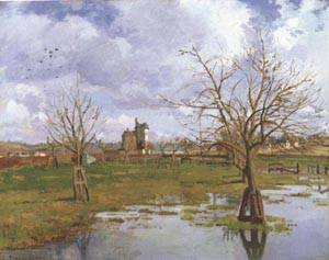 Landscape with Flooded Fields | Camille Pissarro 1873 | oil painting